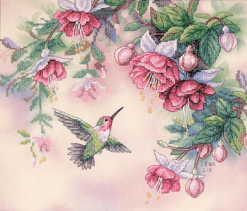 Hummingbird and Fuchsias PRINTED Cross Stitch Kit, Dimensions D13139
