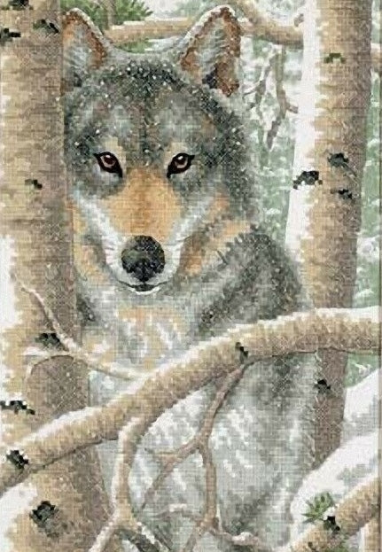 Wintry Wolf PRINTED Cross Stitch Kit, Dimensions D03228