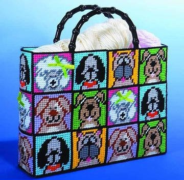 Dogs Tote Bag Tapestry Kit, COUNTED Plastic Canvas Work, Design Works 1827