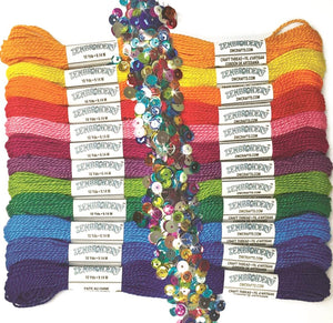 Perle Cotton Embroidery Thread Pack of 12 -Zenbroidery Rainbow 4060
