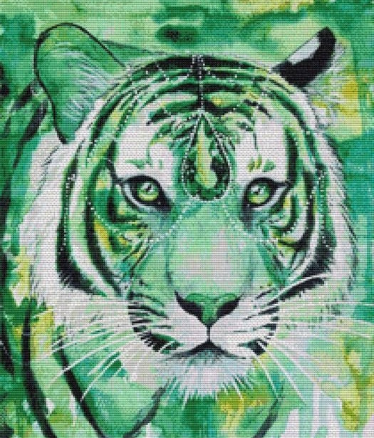 Emerald Tiger, Modern Counted Cross Stitch Kit -Scandy Girl
