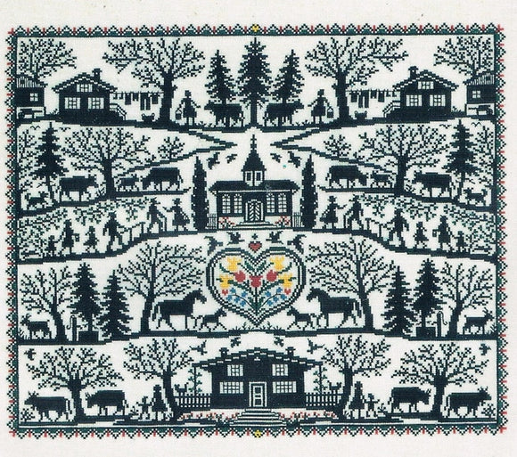 Farm Life Blackwork Silhouette Cross Stitch Kit, Eva Rosenstand 12-535