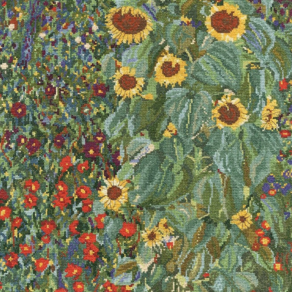 Farm Garden with Sunflowers, Gustav Klimt Cross Stitch Kit, DMC BK1812