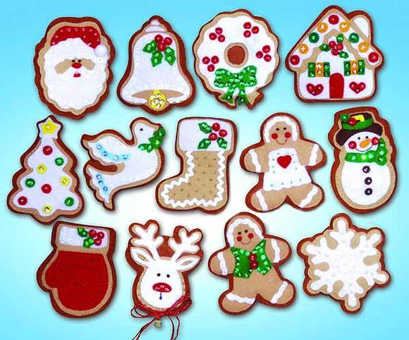 Christmas Cookies, Gingerbread Felt Embroidery Applique Kit, Design Works 5393