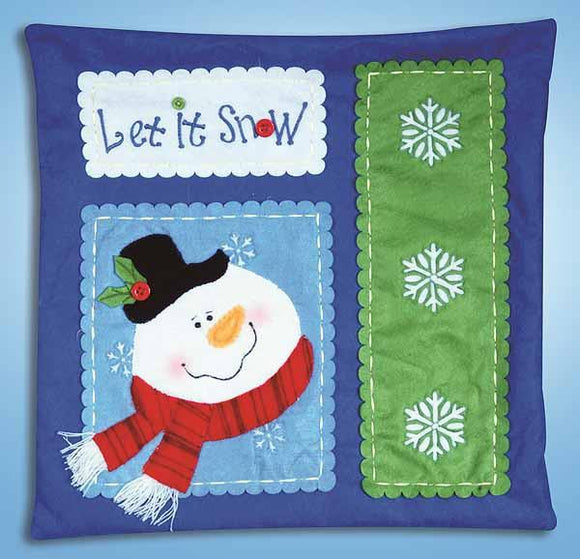 Let it Snow Felt Embroidery Applique Kit Pillow, Design Works 5179