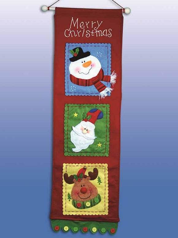 Merry Christmas Banner Felt Embroidery Applique Kit, Design Works 5182