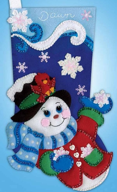 Snowflake Snowman Stocking Felt Embroidery Applique Kit, Design Works 5246