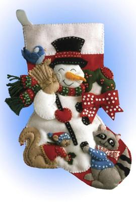 Snowman with Animals Stocking Felt Embroidery Applique Kit, Design Works 5029