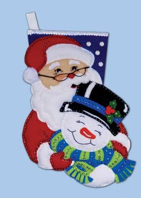 Snow Pals Stocking Felt Embroidery Applique Kit, Design Works 5094