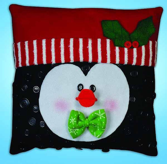 Peguin Button Felt Embroidery Applique Kit Pillow, Design Works 5192