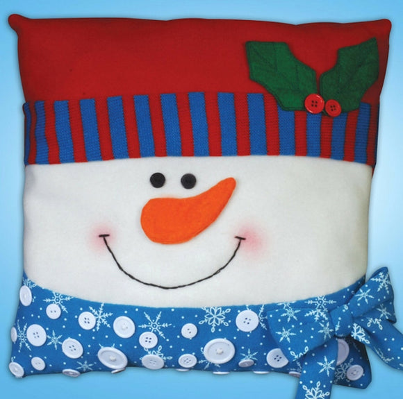 Snowman Button Felt Embroidery Applique Kit Pillow, Design Works 5191