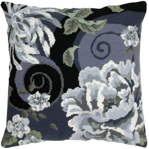 Floral Swirl Black Tapestry Kit Needlepoint, Anchor ALR02