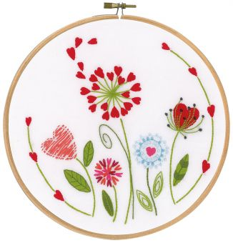 Flowers Embroidery Kit with Hoop, Vervaco pn-0171229