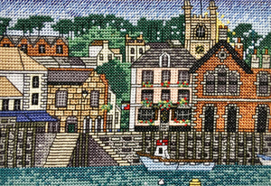 Fowey Harbour, Cornwall Counted Cross Stitch Kit, Emma Louise Art Stitch