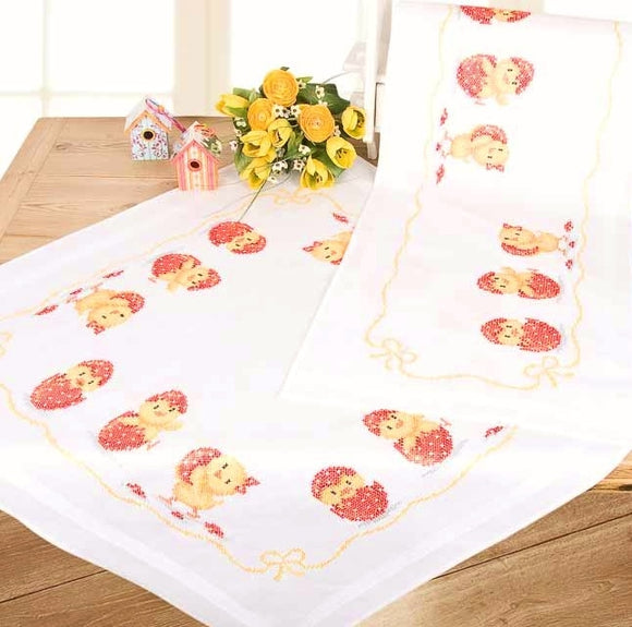 Happy Easter Chicks Printed Tablecloth Cross Stitch Kit, Embroidery, Vervaco PN-0149070
