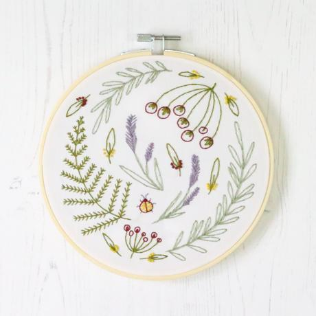 Wildwood Embroidery Kit with Hoop, Hawthorn Handmade