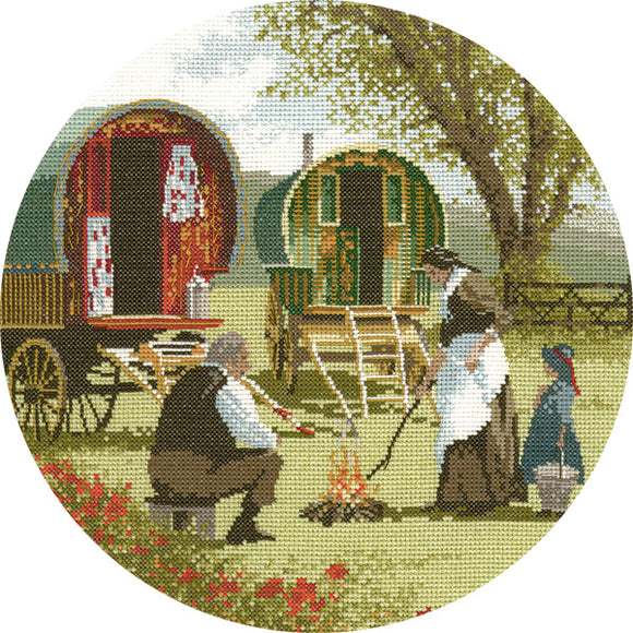 Gypsy Caravans Cross Stitch Kit, John Clayton Circles, Heritage Crafts