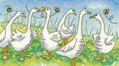 Gossiping Geese Counted Cross Stitch Kit, Heritage Crafts -Karen Carter