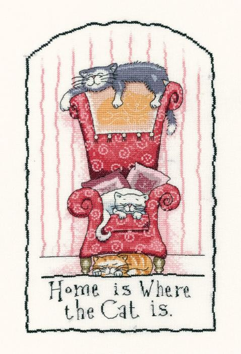 Home is Where the Cat is Cross Stitch Kit, Heritage Crafts -Peter Underhill