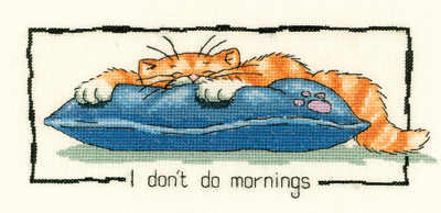 I Don't Do Mornings Counted Cross Stitch Kit, Heritage Crafts -Peter Underhill