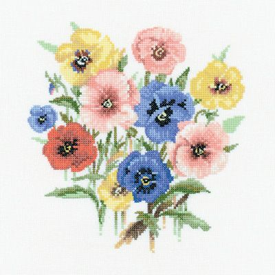 Pansy Posy Counted Cross Stitch Kit, Heritage Crafts, Valerie Pfeiffer