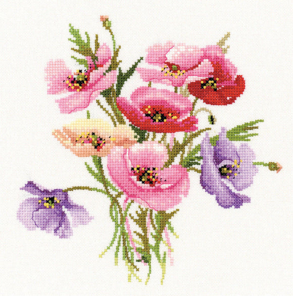 Poppy Posy Counted Cross Stitch Kit, Heritage Crafts, Valerie Pfeiffer
