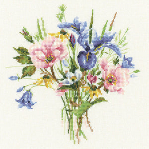 Wild Flower Posy Counted Cross Stitch Kit, Heritage Crafts, Valerie Pfeiffer
