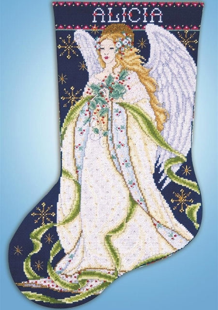 Holly Angel Christmas Stocking Cross Stitch Kit, Design Works 5962