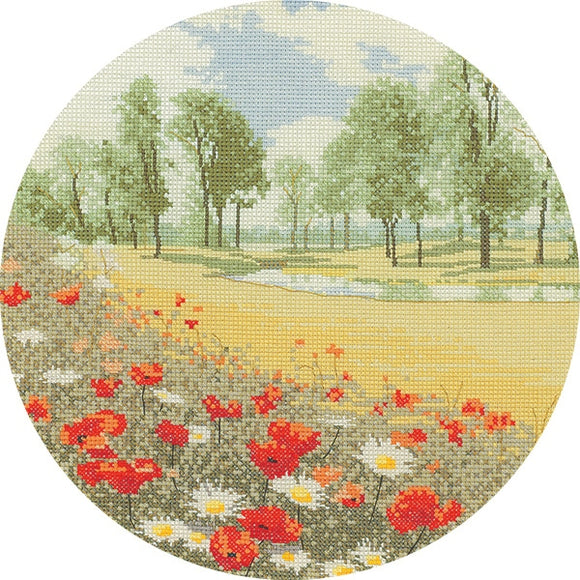 Summer Meadow Cross Stitch Kit, John Clayton Circles, Heritage Crafts