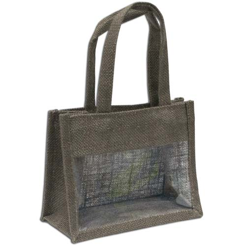 Jute Window Bag, Gift Bag, Needlework Organiser Bag -Medium, Brown
