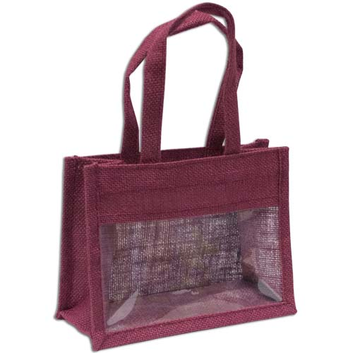 Jute Window Bag, Gift Bag, Needlework Organiser Bag -Medium, Burgundy