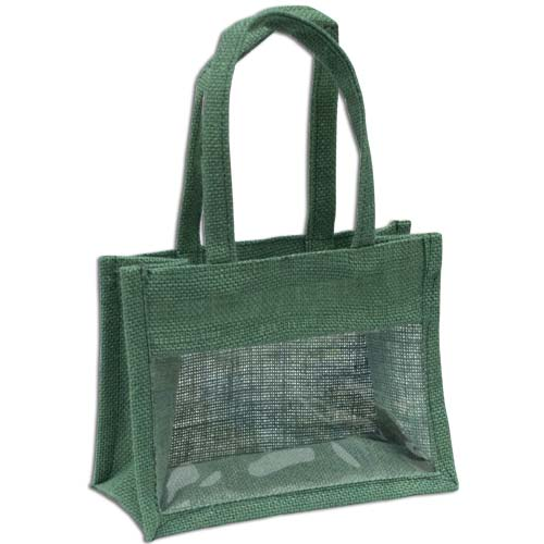 Jute Window Bag, Gift Bag, Needlework Organiser Bag -Medium, Green