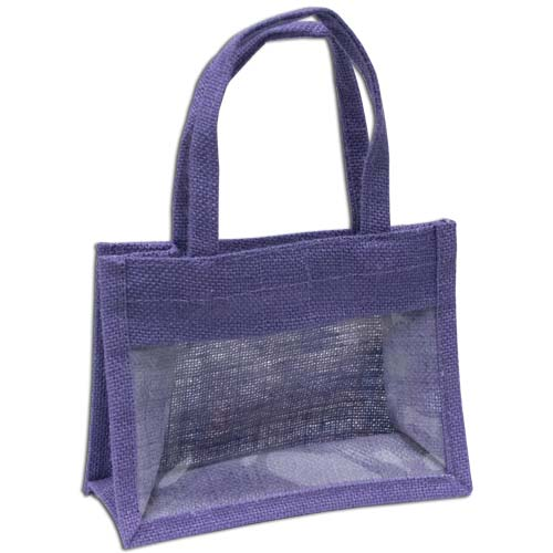 Jute Window Bag, Gift Bag, Needlework Organiser Bag -Medium, Lavender