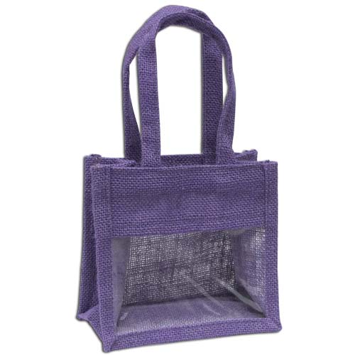 Jute Window Bag, Gift Bag, Needlework Organiser Bag - Small, Lavender