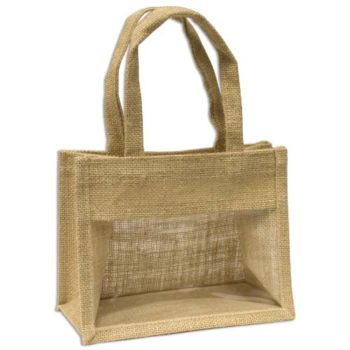 Jute Window Bag, Gift Bag, Needlework Organiser Bag -Medium, Natural