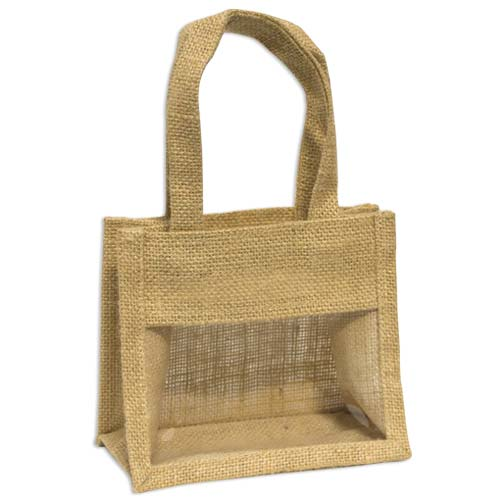 Jute Window Bag, Gift Bag, Needlework Organiser Bag - Small, Natural