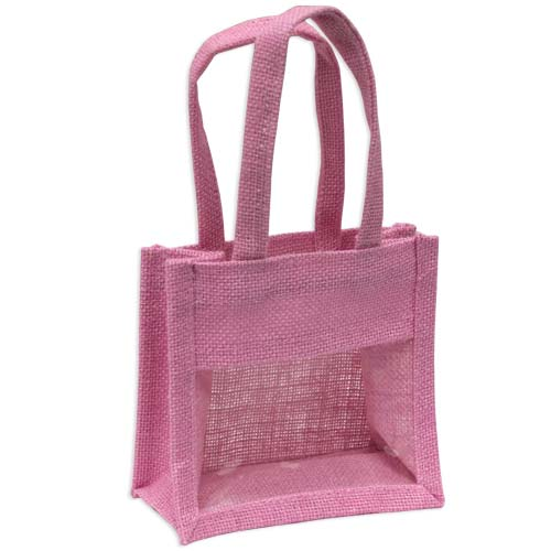 Jute Window Bag, Gift Bag, Needlework Organiser Bag - Small, Pink