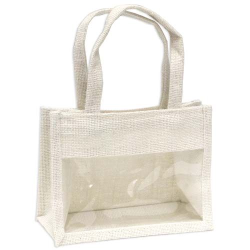 Jute Window Bag, Gift Bag, Needlework Organiser Bag -Medium, White