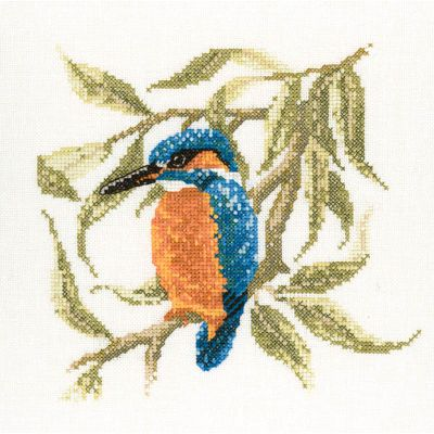 Kingfisher Cross Stitch Kit, Heritage Crafts - David Merry