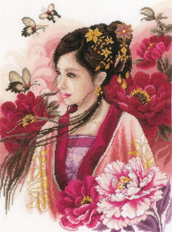 Asian Lady in Pink Counted Cross Stitch Kit, Lanarte PN-0170199