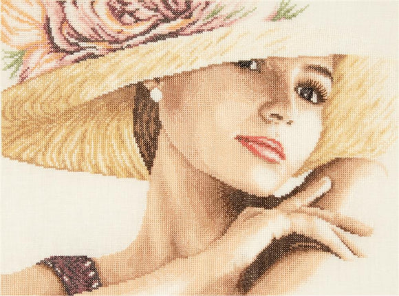Lady with Hat Counted Cross Stitch Kit, Lanarte PN-0168602