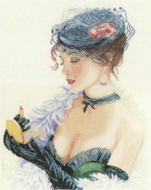 Lady with Lipstick Counted Cross Stitch Kit, Lanarte PN-0154332