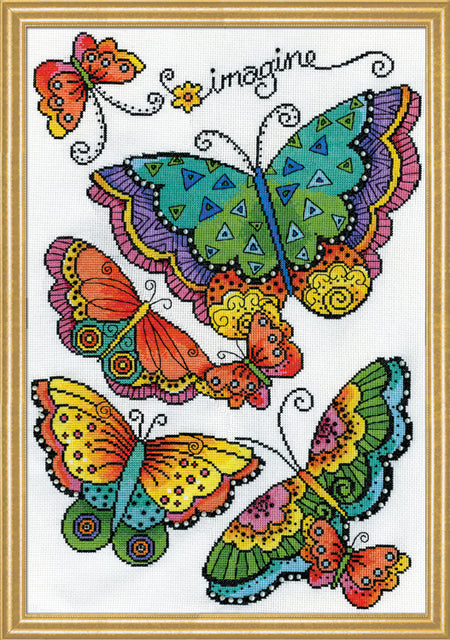 Butterflies Counted Cross Stitch Kit, Laurel Burch -Design Works 3384