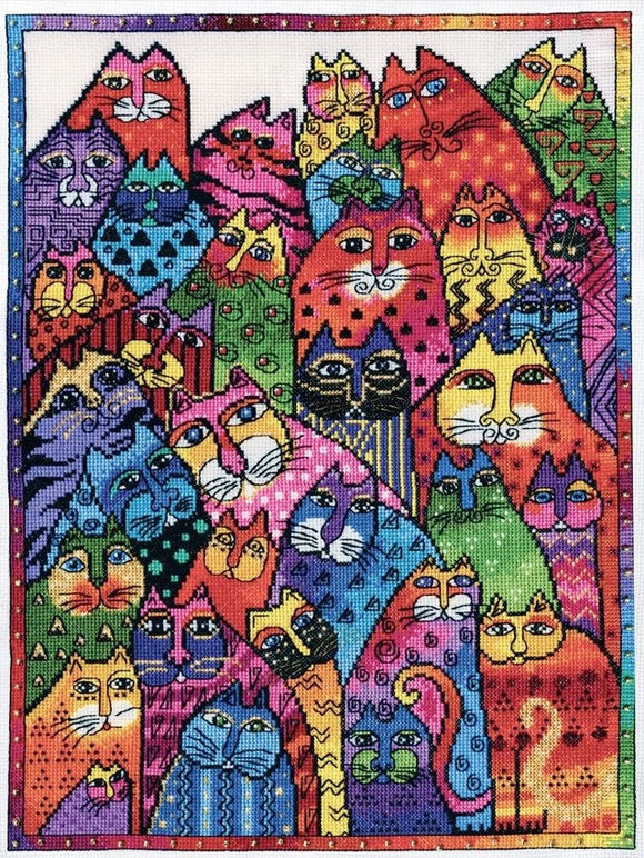 Cat Collage Cross Stitch Kit, Laurel Burch -Design Works 3381