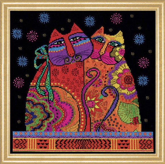 Cat Pair Counted Cross Stitch Kit, Laurel Burch -Design Works 3383