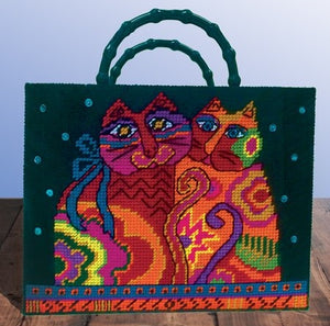 Laurel Burch Cats Tote Bag Tapestry Kit, COUNTED Plastic Canvas Work