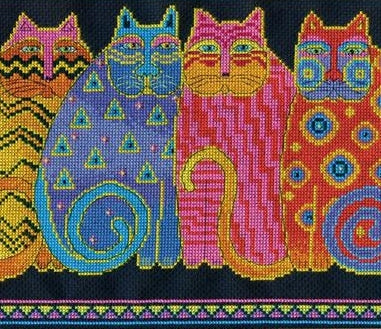Feline Family Row Counted Cross Stitch Kit, Laurel Burch -Design Works 3380