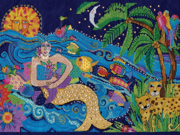 Mermaid Counted Cross Stitch Kit, Laurel Burch -Design Works 3382