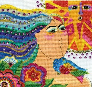 Mikayla Counted Cross Stitch Kit, Laurel Burch -Design Works 3385