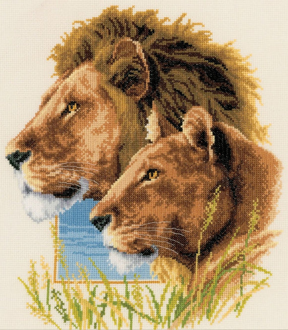 Lion Duo Cross Stitch Kit, Vervaco pn-0143773